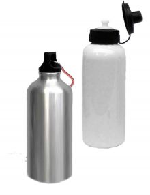 Bedrukte bidon zilver of wit, inhoud 400 ml of 600 ml